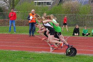 De start van Celine op de 1000m