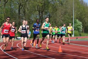 Start van de 5000m met Mart